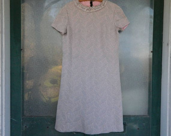 RESERVED Vintage Leslie Fay Knits Short Sleeve Dress -S/M- Pale Pink with Silver Sparkle