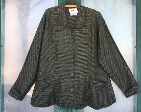 FLAX Engelhart Temperate 2002 Simply Fitting Jacket -L- Green Jacquard Linen
