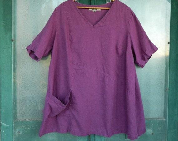 FLAX Engelhart Short-Sleeve V-Neck Top with Pockets  -2G/2X- Purple Linen