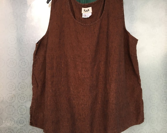 FLAX Engelhart Tank -3G/3X- Brindle Yarn-Dyed Brown-Black Linen