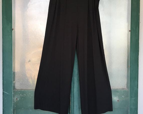 J. Jill Pleated Wide Leg Pants -L- Black Rayon Spandex