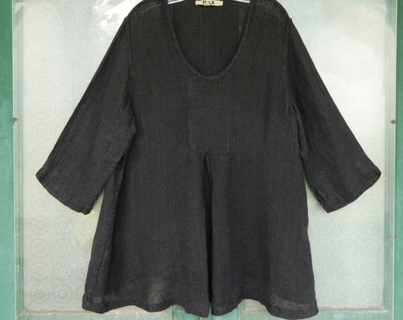 FLAX Engelheart 3/4 Sleeve Pullover Pleated Tunic -1G/1X- Black Linen Gauze
