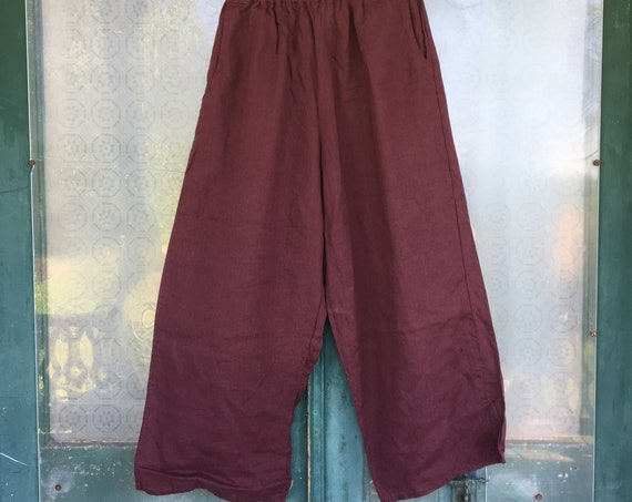 FLAX Engelhart Basic 1999 Flood Pants -S- Plum Handkerchief Weight Linen