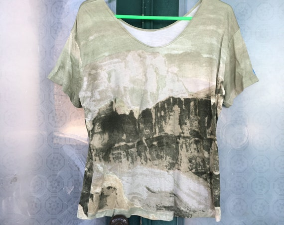 FLAX Engelhart Basic Accents 2002 Tunraround Tee -L- Green Canyon Rayon Knit