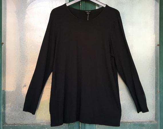 J. Jill Long Sleeve Tee -L- Black Rayon Spandex NWT