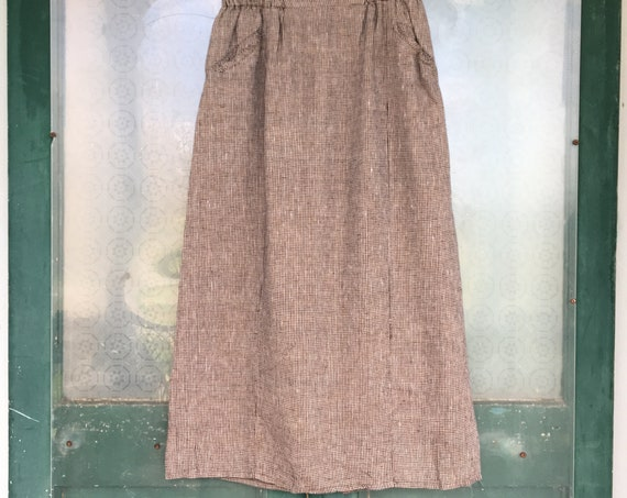 FLAX Engelhart Basic 2003 Panel Skirt -L- Cocoa Check Linen