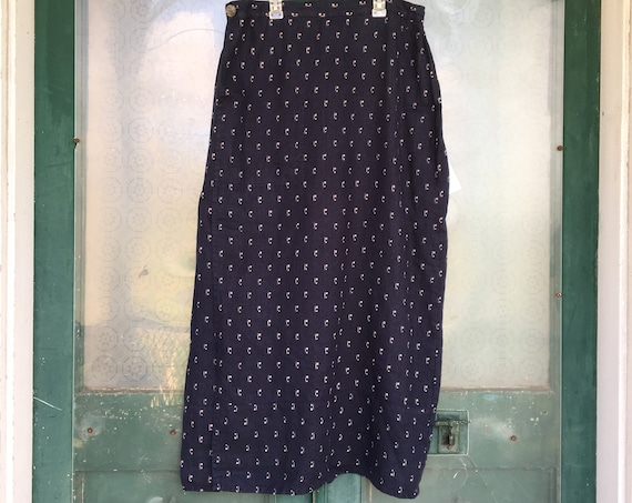 FLAX Engelhart Wrap It Up Skirt -L- Navy Rain Linen