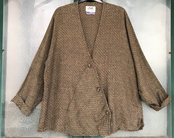 FLAX Engelhart Soleil Chevron Top -L- Black and Gold Warm Weave Linen