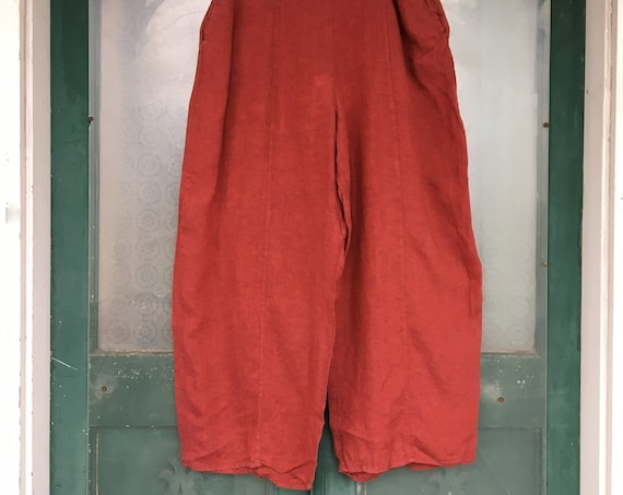 FLAX Engelhart Linen Pants -2G/2X- Yarn-Dyed Red Linen NWT