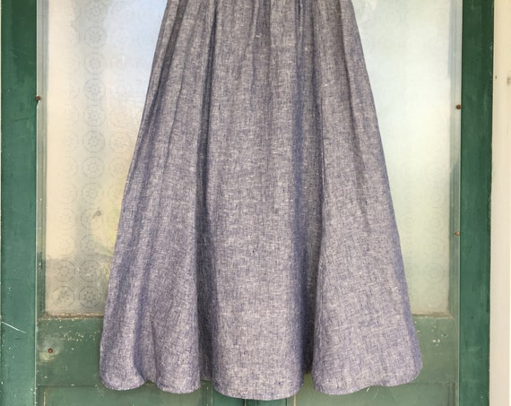 FLAX Designs A-line Skirt -L- Yarn-Dyed Denim Blue Linen