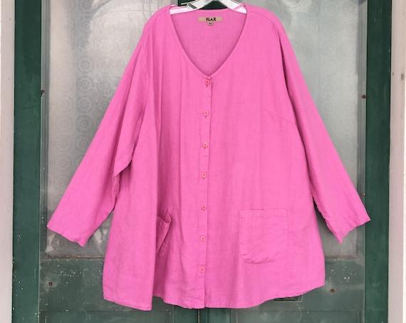 FLAX Engelhart V-Neck Button-Front Tunic Jacket -3G/3X- Pink Linen