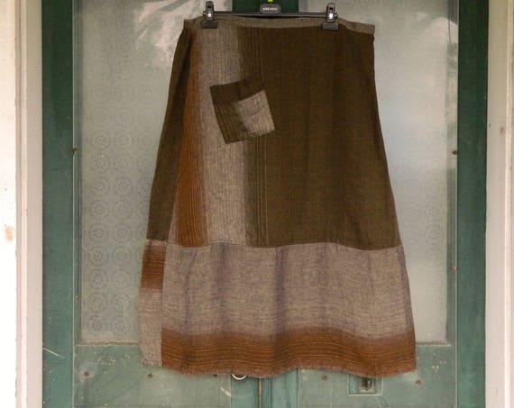 FLAX Engelhart Neutral 2011 Romantic Skirt -2G- Brown/Gray Stripe Linen NWT
