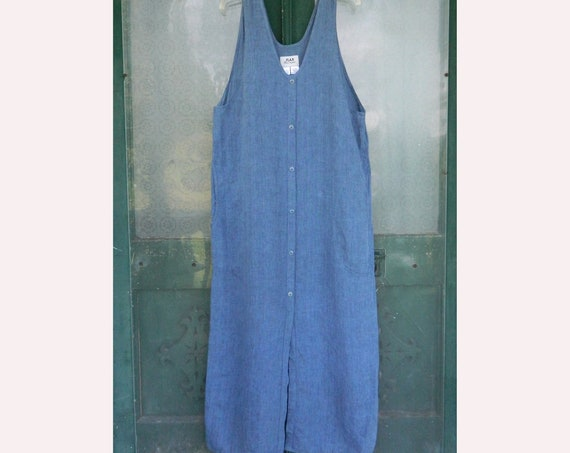 FLAX Engelheart Button Jumper -M- Medium Denim Blue Linen