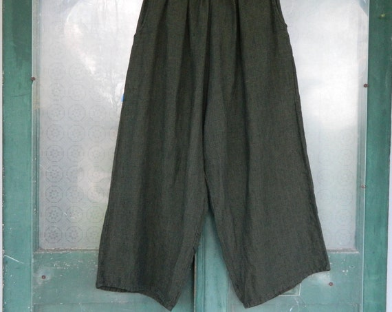 FLAX Engelheart Flood Pants -L- Dark Ivy Green Linen