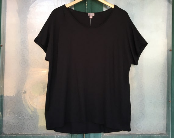 J. Jill Scoop Neck Short Sleeve Sleeve Tee -L- Black Rayon Spandex NWT