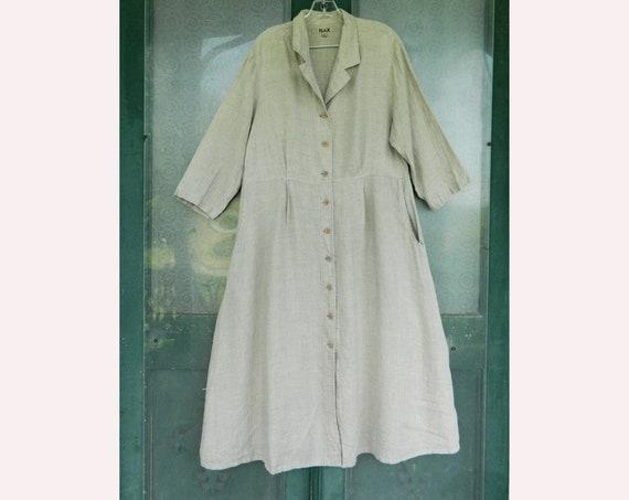 FLAX Engelheart Dress Coat in Natural Light Weight Linen