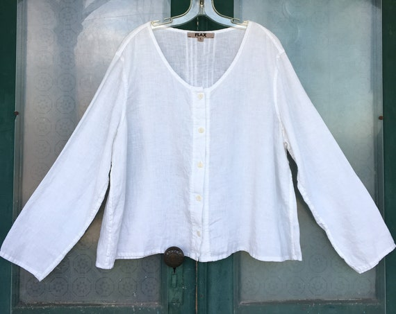 FLAX Lagenlook Oversized White Linen Blouse with Pintucks -L-
