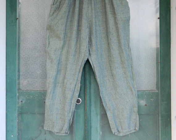 FLAX Engelheart Straight Pants -2G/2X- Yarn-Dyed Aquatic Blue and Green Linen