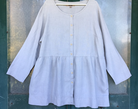FLAX Designs Magic Jacket -L - Pale Gray Linen