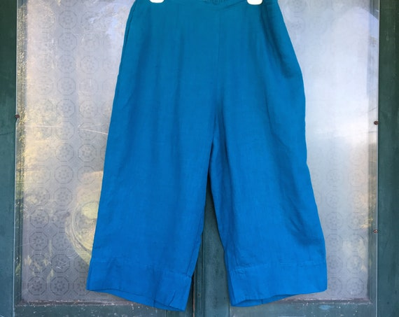 FLAX Designs Crop Pant -L- Teal Linen