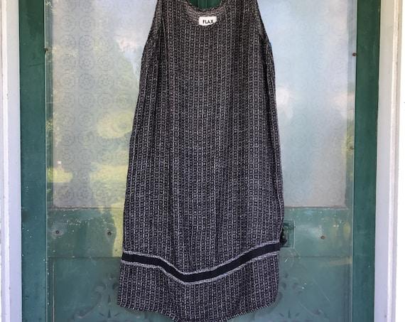 FLAX Engelhart Sleeveless Slipster Dress -1G/1X- Woven Black Linen