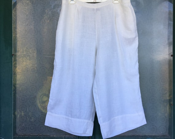 FLAX Designs Crop Pant -L- White Linen