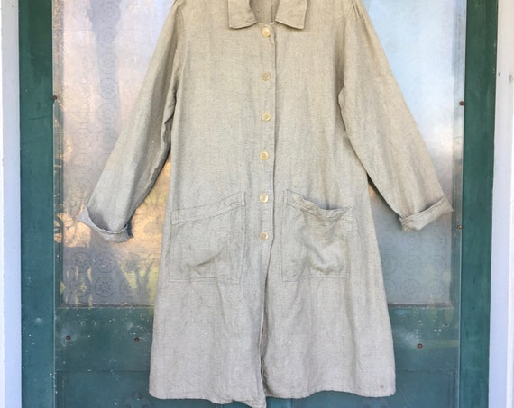 FLAX Engelhart Long Jacket -M- Yarn-Dyed Sage/Natural Heavy Weight Linen