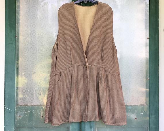 Angelheart Designs 1996 Medieval Reversible Vest -L- Brown Stripe Rayon Viscose