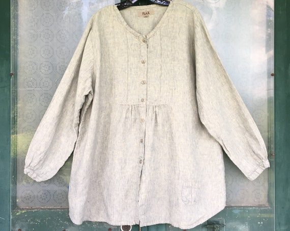 FLAX Engelheart Long Sleeve Tunic Shirt -L- Yarn-Dyed Pale Denim Linen