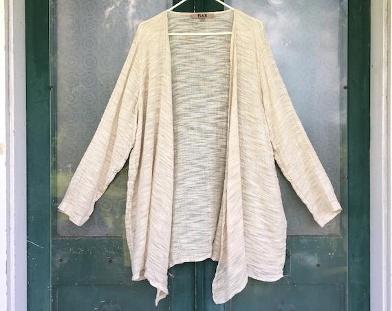 FLAX Engelhart Open-Front Jacket -XL- Natural Linen Gauze