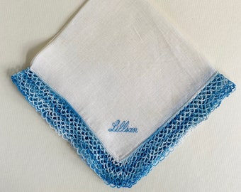 Vintage Lillian Handkerchief with Blue Tatted Edges