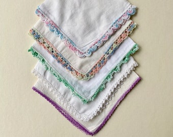 Collection of 5 Vintage Handkerchiefs with Tatted Edging