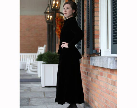 RESERVED Vintage Black Velvet Mourning Outfit -XS-