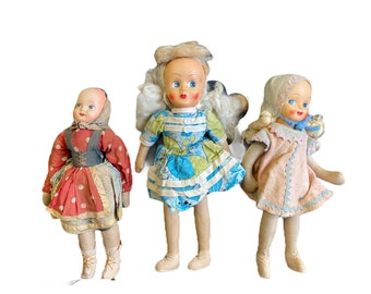 """Trip of Vintage Dolls 14"""" 15"""" 16"""" Jointed Cloth with Celluloid Heads Poland"""