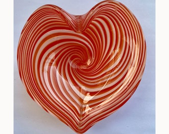Vintage Heart Shaped Orange Swirl Dish