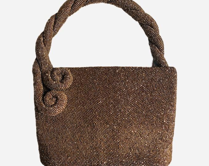 Vintage 1940s Flat Bottom Deco Handbag with Copper Beading