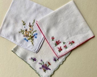 Trio of Vintage Handkerchiefs with Embroidered Flowers