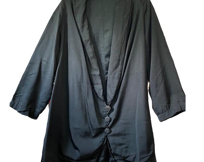 Vintage Late Edwardian Women's Black Faille Blazer