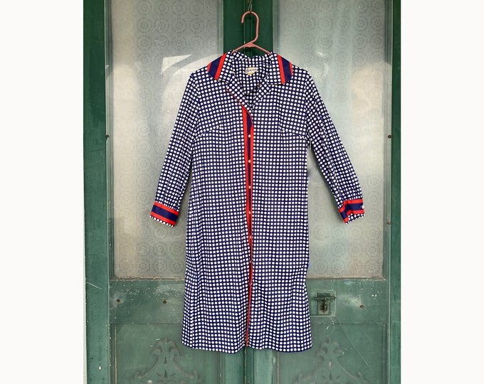 Vintage Cay Artley 1970s Red White and Blue Polka Dot Dress