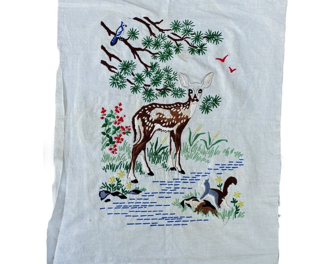 Vintage Unfinished Embroidery Woodland Scene with Fawn