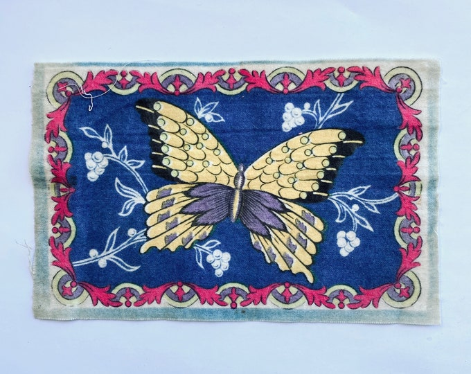 Vintage Felt Tobacco Flag with Butterfly