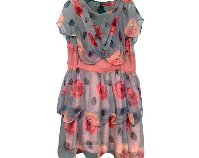 Vintage 1920s Rose Chiffon Layered Dress