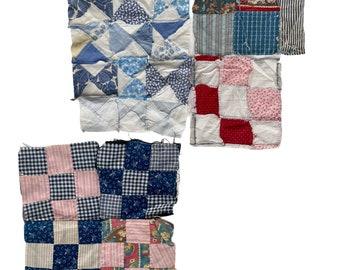 Lot of 4 Mismatched Vintage Quilt Blocks