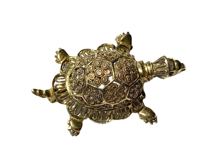 Gold over Sterling Filigree Turtle Pin Germany