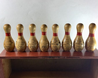 Collection of 8 Vintage Mini Bowling Pin Trophies