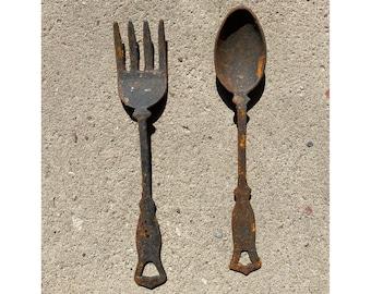 Mr. Fork and Mrs. Spoon Vintage Cast Iron Serving Utensils