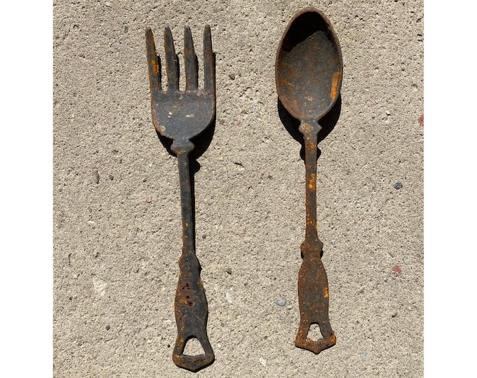 Mr. Fork and Mrs. Spoon Vintage Cast Iron Serving Utensils