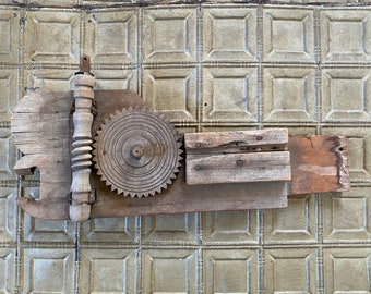 Primitive Wooden Found Object Wall Sculpture