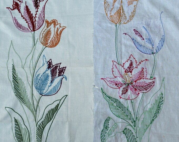 Vintage Unfinished Embroidery Tulip Panels
