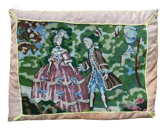 Vintage Colonial Scene Needlepoint Down Pillow Cushion